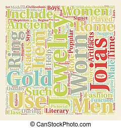 Jewelry In Ancient Rome text background wordcloud concept