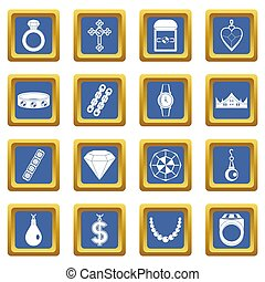 Jewelry items icons set blue