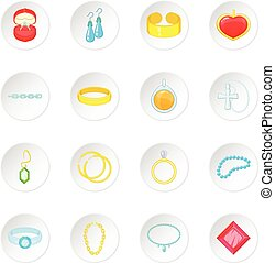 Jewelry items icons set