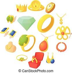 Jewelry items icons set, cartoon style