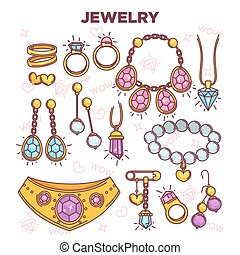 Jewelry items vector flat set isolated on white