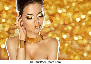 jewelry., móda, kráska, osamocený, makeup., lady., o, glam, děvče, vzor