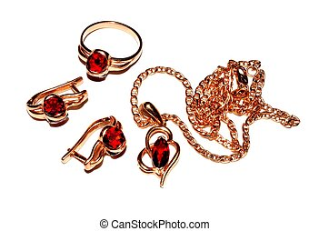 Jewelry made of gold with garnet . Variety of garnet - pyrope
