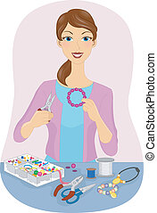 Jewelry Making - Illustration Featuring a Girl Making...