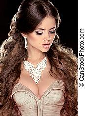 jewelry., marrom, penteado, morena, beleza, muito,...