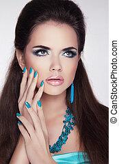 jewelry., mulher, beleza, moda, portrait., trendy