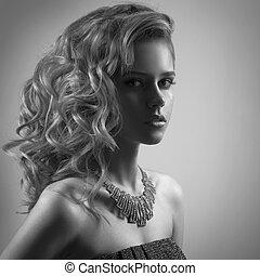 jewelry., mulher, imagem, moda, bw, retrato