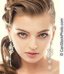 jewelry., mulher, refinamento, earrings., deslumbrante, retrato, brilhante, primoroso