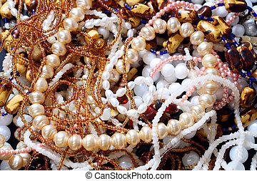 close-up view on jewelry necklace and other bijouterie