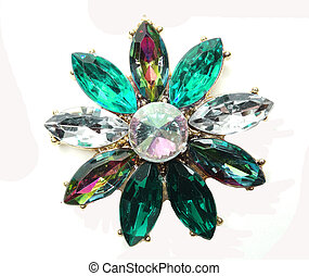 jewelry necklace with bright crystals brooch