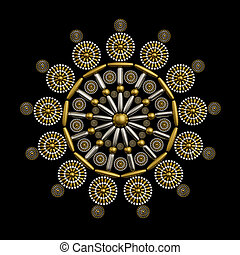 Jewelry ornament design made from metallic seed beads ...