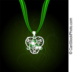 jewelry pendant with green gems - on an abstract green...