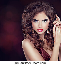 jewelry., penteado, mulher, moda, beleza, elegante, sobre, photo., escuro, experiência., ondulado, portrait., luxo, make-up., posar, senhora