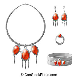 Jewelry Pieces Collection Vector Illustration