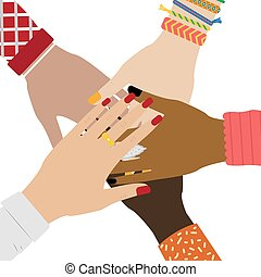 jewelry., pojęcie, grupa, ludzie, rozmaity, kładzenie, razem., siła robocza, dziewczyna, teamwork., togetherness