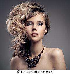 jewelry., portrait, femme, mode, luxe