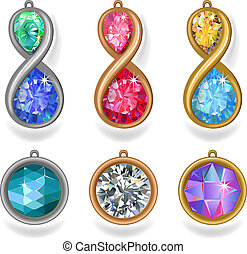 jewelry precious metal pendants - Set of metal pendants and...