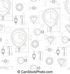 Jewelry Production Sketch Seamless Pattern. - Jewelry...