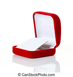 Jewelry red box on isolated white background