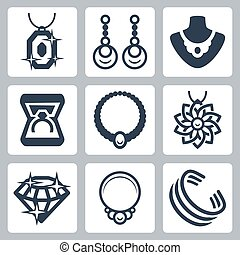 Jewelry related vector icons set