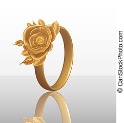 Jewelry ring with golden rose