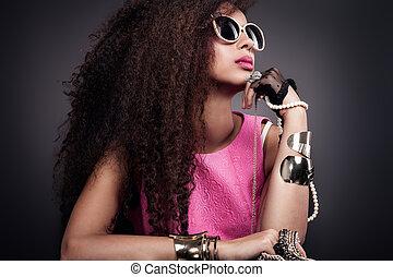 jewelry., ritratto, ragazza, attraente, bellezza