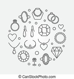 Jewelry round outline illustration. Vector jewellery poster