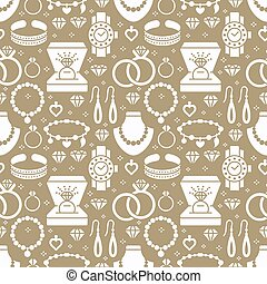 Jewelry seamless pattern, glyph illustration. Vector silhouette icons of jewels accessories - gold engagement rings, diamond, pearl necklaces, charms bracelet. Fashion repeated background