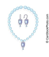 Jewelry Set Necklace and Earrings Isolated