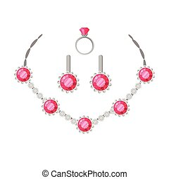 Jewelry Set Necklace, Ring and Earrings Isolated