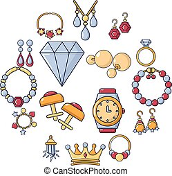 Jewelry shop icons set, cartoon style