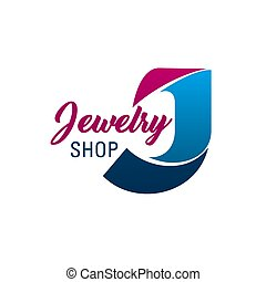 Jewelry shop vector letter J icon