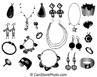 Silhouettes of jewelry