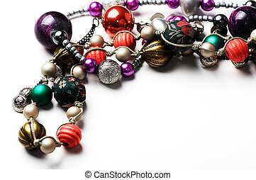 jewelry - Beautiful necklace closeup on white background and...