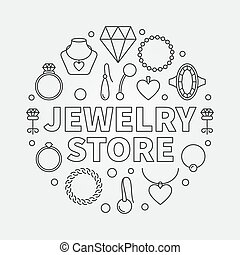 Jewelry store vector concept round illustration in line style