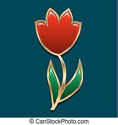 jewelry., stylisé, fleur, or, tulipe, cut., illustration, bud., sombre, arrière-plan., vecteur, vert, lustré, décoré, morceau, feuilles, rouges