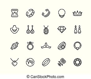 Jewelry vector icon set in outline style