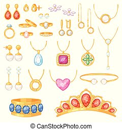 Jewelry vector jewellery gold bracelet necklace earrings and silver rings with diamonds jewel accessories set illustration isolated on white background