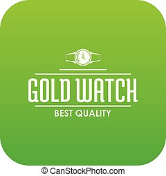 Jewelry watch icon green vector