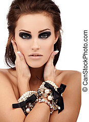 Jewelry - Young brunette lady with luxury accessories ...