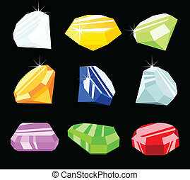 Different jewels and gemstones isolated on black background, vector.