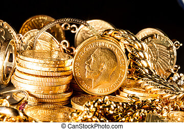 Jewels and gold coins over dark background