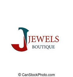 Jewels jewelry boutique vector letter J icon