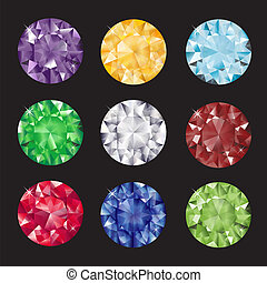 A set of brilliant cut gems on balck background. EPS10 vector format.