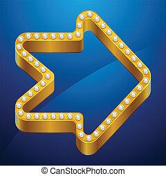 jewels., résumé, fond, or, flèche