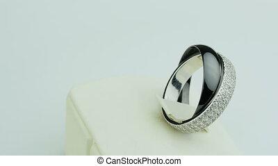 Jewerly ring platinum on white background
