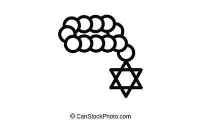 Jewish beads icon animation outline best object on white background