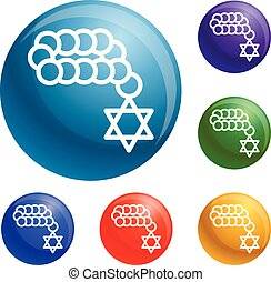 Jewish beads icons set vector 6 color isolated on white...