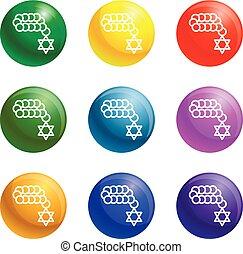 Jewish beads icons set vector - Jewish beads icons vector 9...