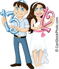 Jewish Boy And Girl Hold Numbers For Bar Bat Mitzvah